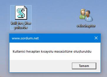 Script ile kullanıcı hesabı kısayolu