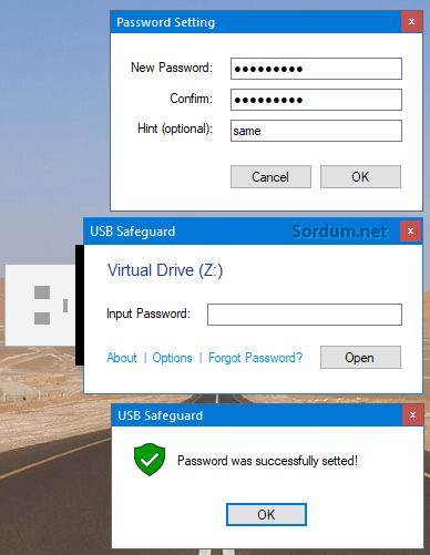 USB safe guard password
