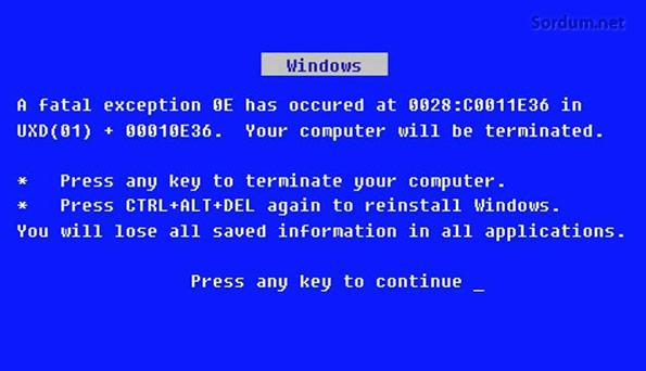 Xp kurulumnunda alınan mavi ekran hatası