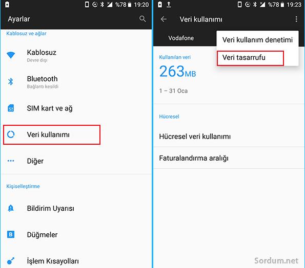 Android veri tasarrufu ayarı