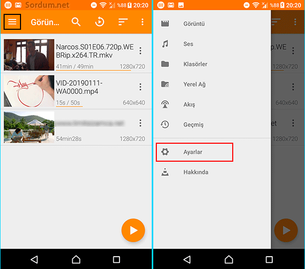 Android VLC ayarlar