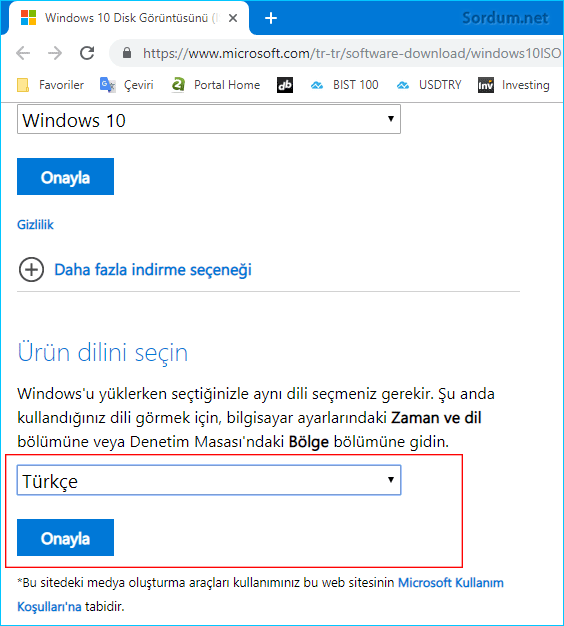 Windows 10 un dilini seç