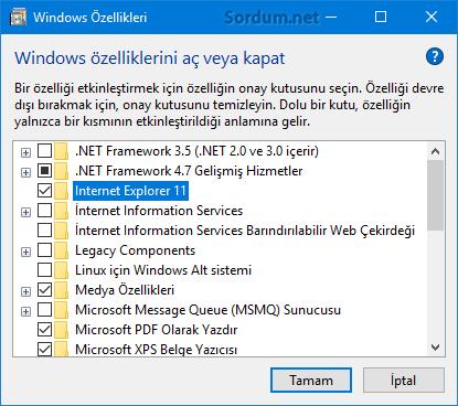 windows özelliklerinden internet exploreri kaldırmak