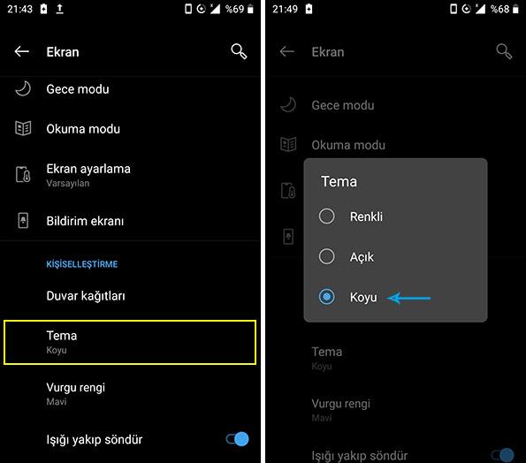 Android PIE koyu tema seçimi