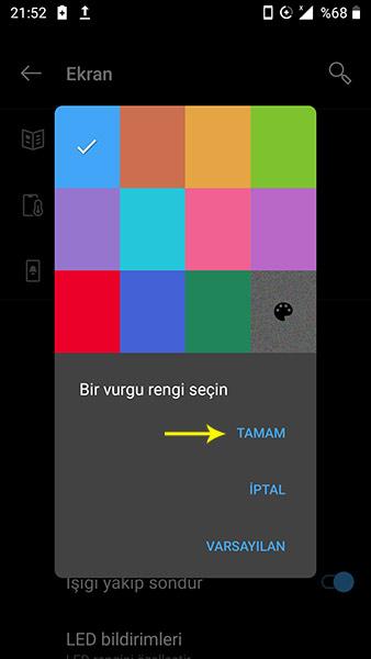 Android tema da vurgu rengi