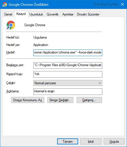 Chrome kısayolu ile siyah tema