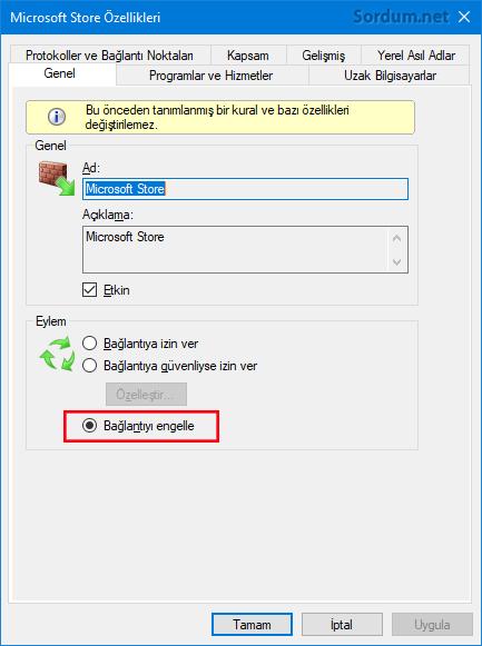 Güvenlik duvarı ile Microsoft storeyi engellemek