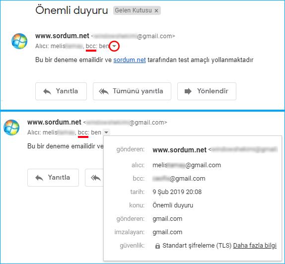 Gmailde BCC kullanılırsa karşı taraf nasıl görür