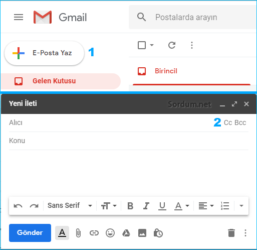 Gmailde yeni email