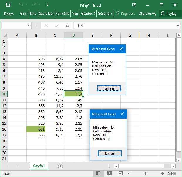 Macro ile minimum ve maksimum değerleri bulmak