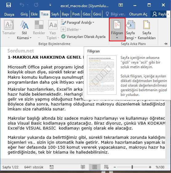 Microsoft word filigran özelliği