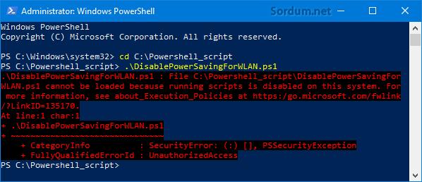 ps1 script çalışma hatası