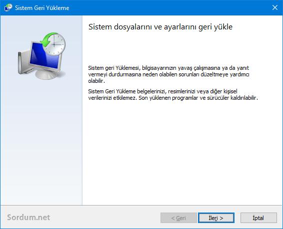 Sistem geri yükleme ekranı