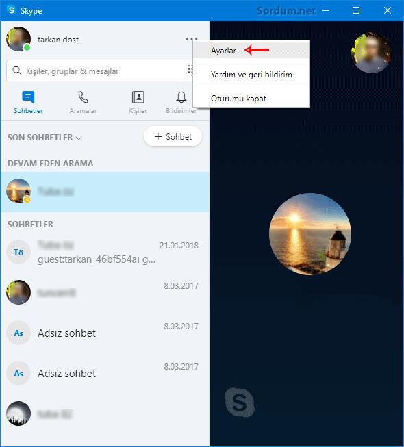 Skype Ayarları