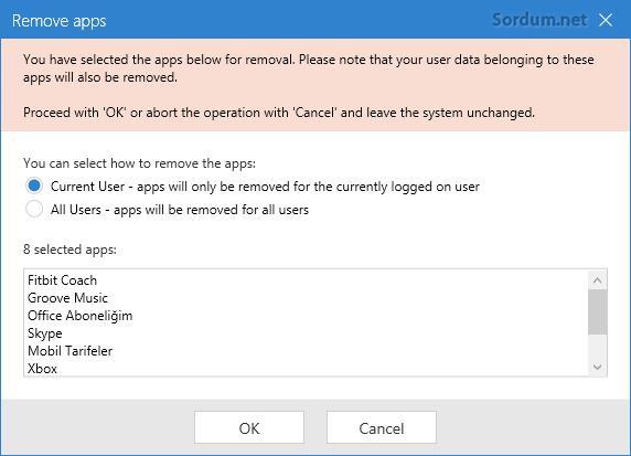 Uygulama hangi kullanıcı için kaldırılsın