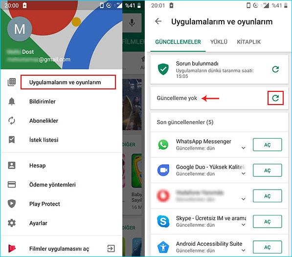 Android uygulamalarının güncelleme kontrolü