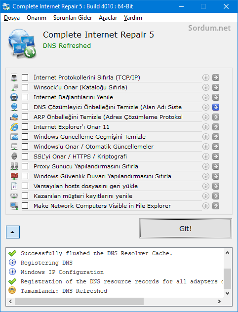 İnternet repair yazılımı ile flush dns cache