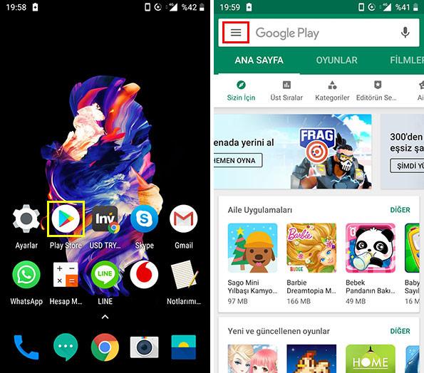 Akıllı telefonda Google play store