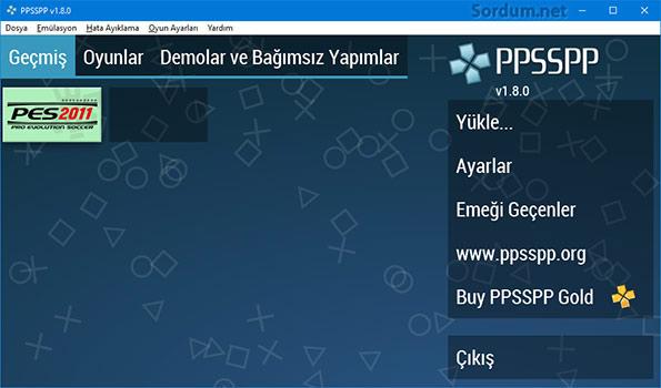 ppsspp emülator arayüzü