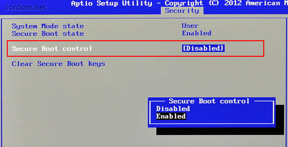 BIOS ta secure boot u disable edelim