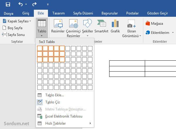 Microsoft word a tablo eklemek