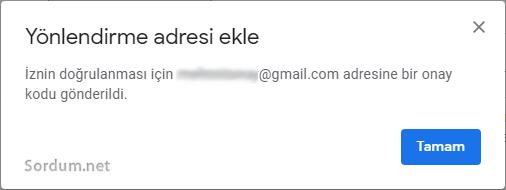 Gmail yönlendirme izni