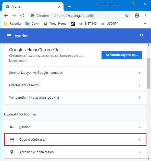Chromede ödeme yöntemleri