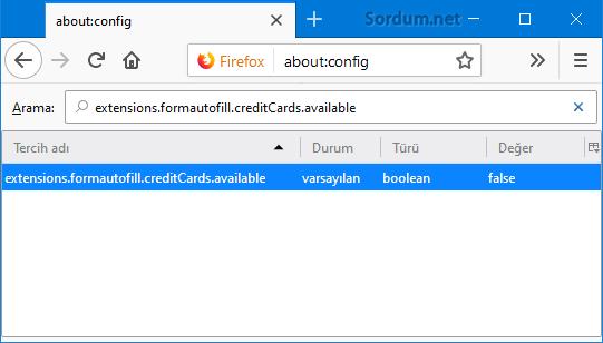 Firefox kredi kartı bilgilerini kaydetmesin