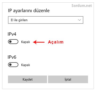 IP ayarlarını düzenle