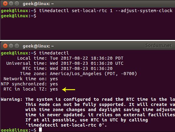 linux local saati kullansın