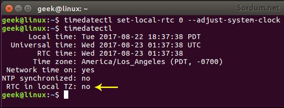Linux UTC kullansın