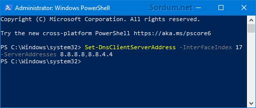 Powershell ile DNS değişikliği nasıl yapılır
