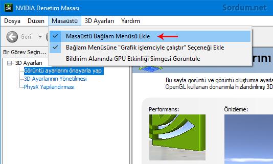 Sağ tuşa Nvidia denetim masası ekle