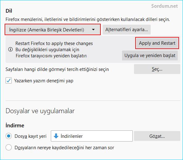 Firefoxta yeni dili uygula