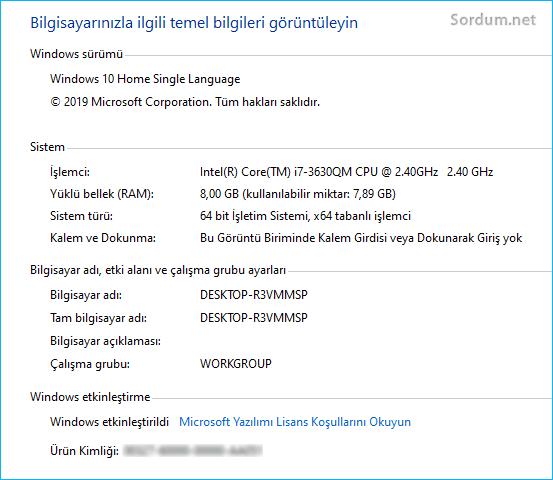 Bilgisayar özellikleri