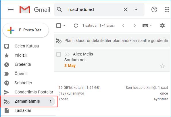 Gmail zamanlamış klasörü