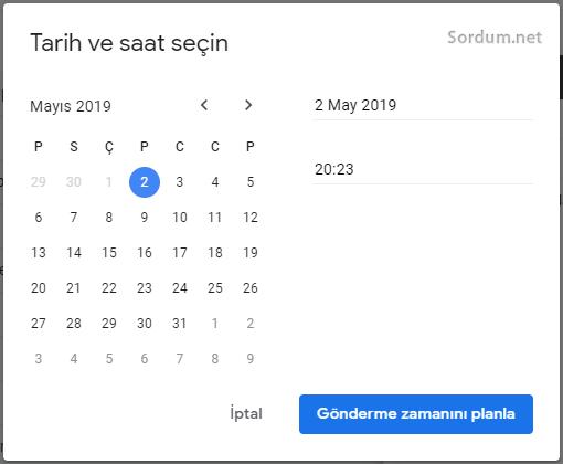 Gmailde Farklı gönderme zamanı seçmek