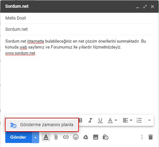 Gmailde gönderme zamanı planı