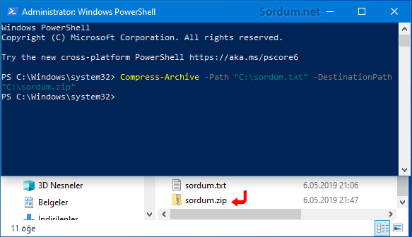 Powershell ile zip yap