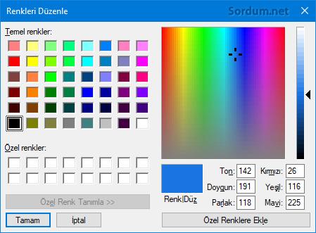 Paint ten renk kodlarını bulalım