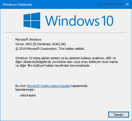 Windows 10 1903 final sürüm numarası
