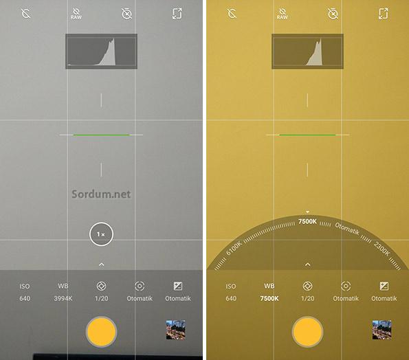 Android telefonda White balance ayarı