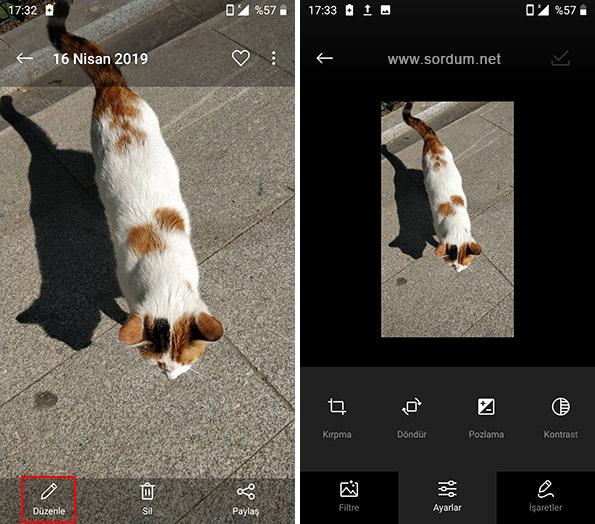 Android te fotoğraf düzenlemesi
