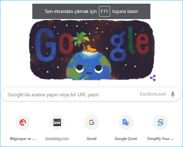 Google chrome tam ekran