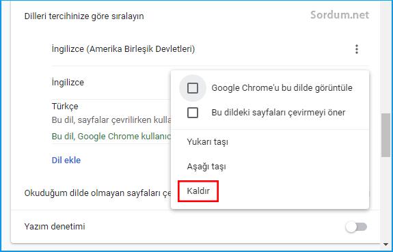 Chrome de dil nasıl kaldırılır