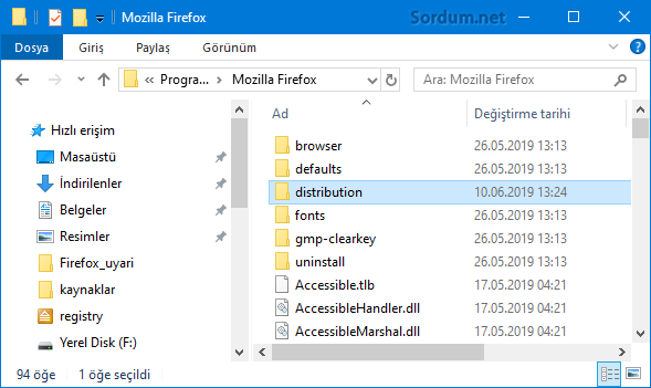 firefox distribution klasörü