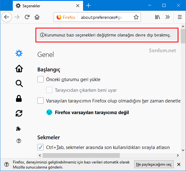 Firefox ta seçenekler devre dışı