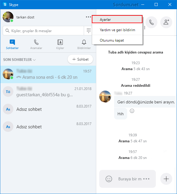 skype ayarlar