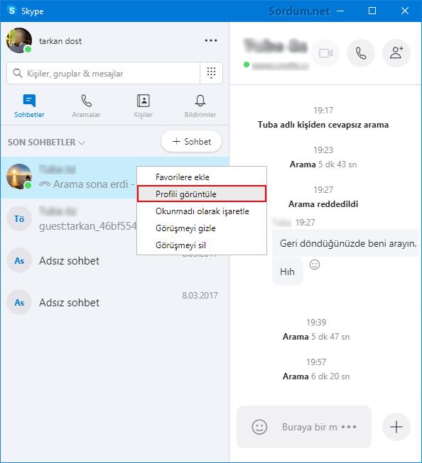 Skype Profil görüntüle