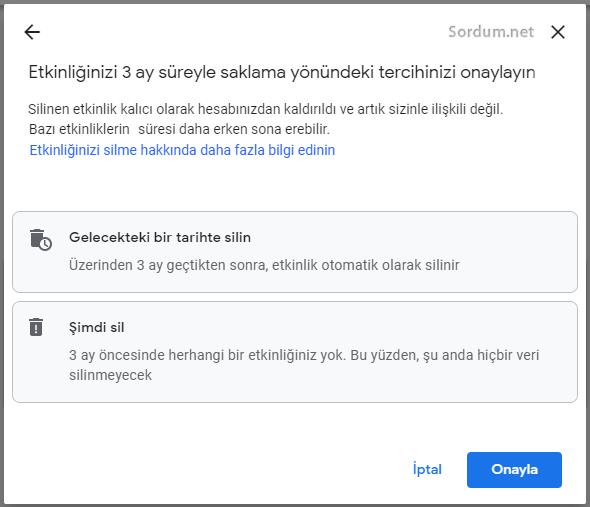 Google tercih onayı